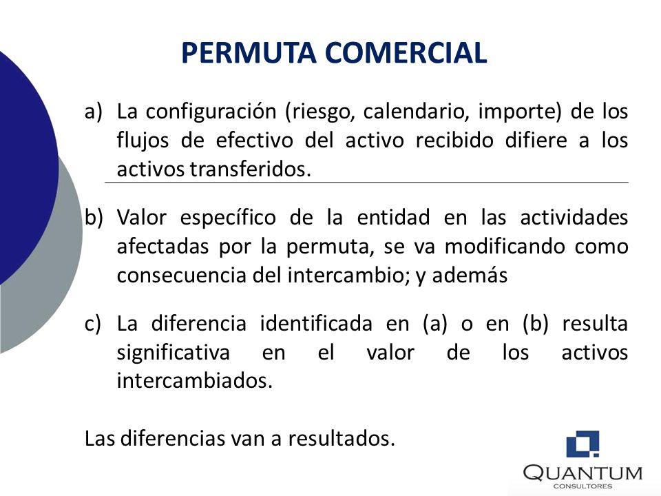 PERMUTA COMERCIAL La configuración (riesgo, calendario, importe) de los flujos de efectivo del activo recibido difiere a los activos transferidos.