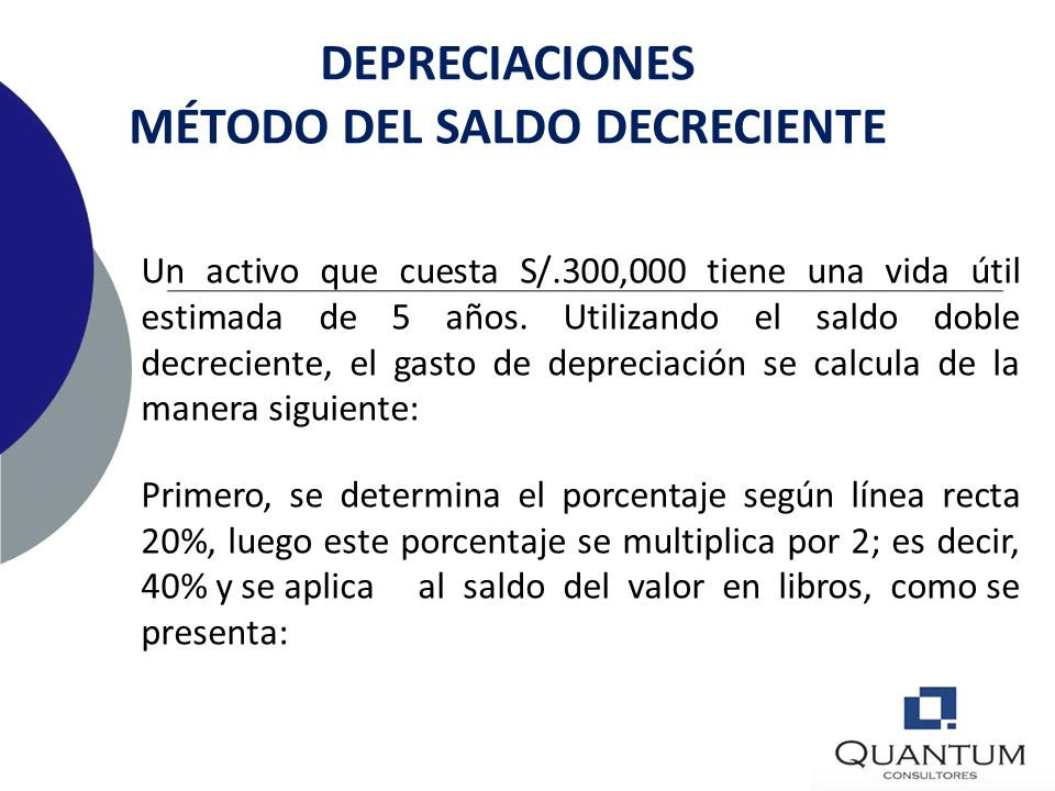 DEPRECIACIONES MÉTODO DEL SALDO DECRECIENTE
