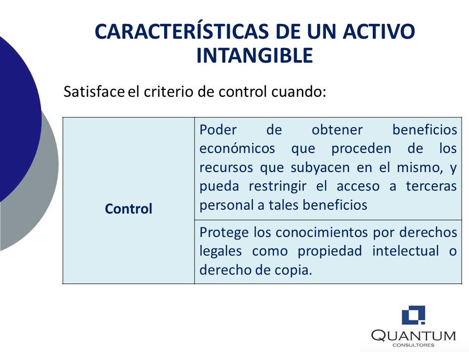 CARACTERÍSTICAS DE UN ACTIVO INTANGIBLE