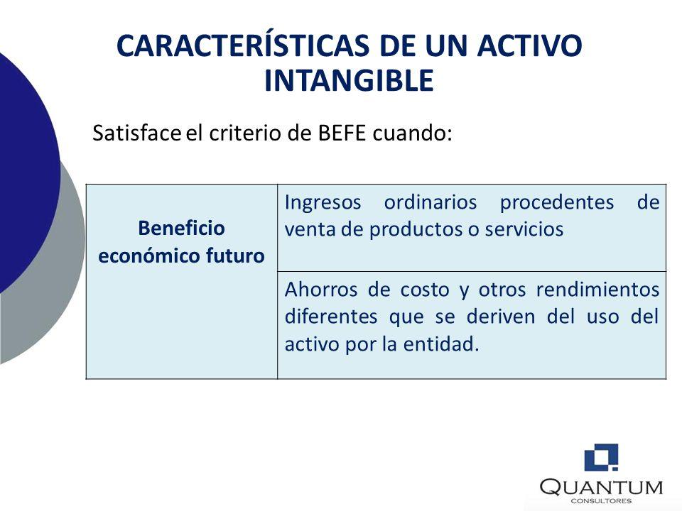CARACTERÍSTICAS DE UN ACTIVO INTANGIBLE Beneficio económico futuro