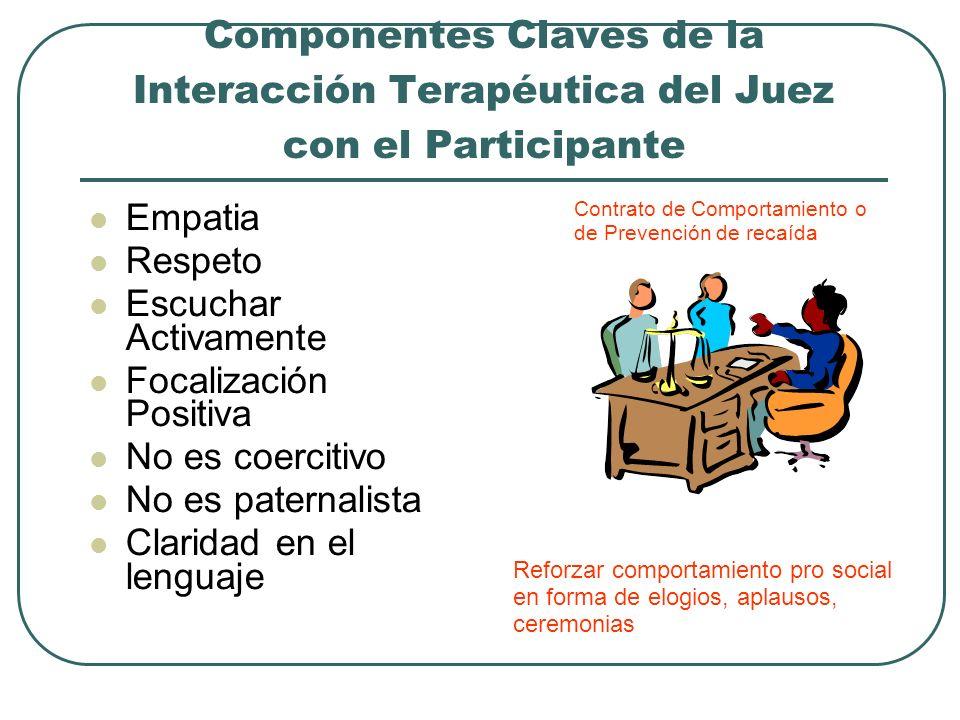 Componentes Claves de la Interacción Terapéutica del Juez con el Participante