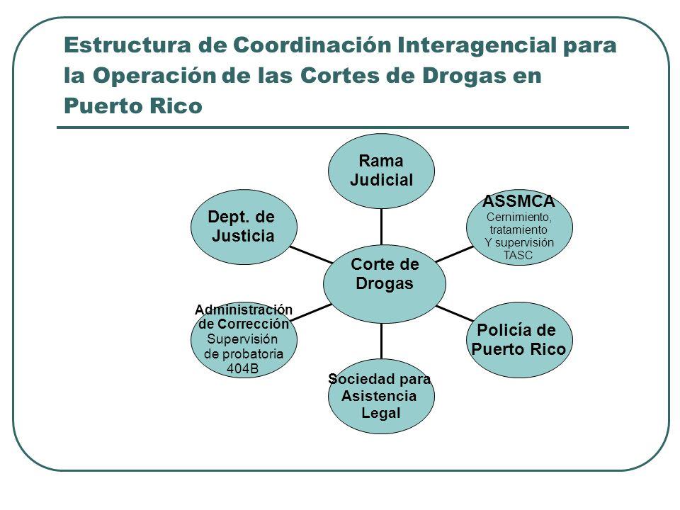 Estructura de Coordinación Interagencial para la Operación de las Cortes de Drogas en Puerto Rico