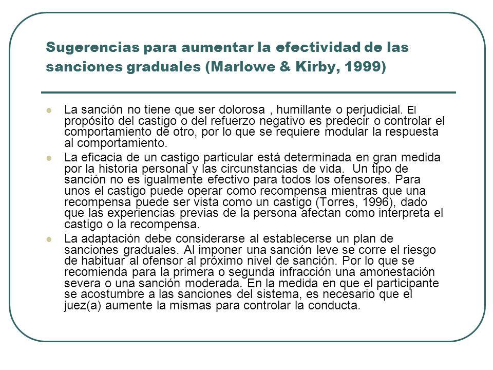 Sugerencias para aumentar la efectividad de las sanciones graduales (Marlowe & Kirby, 1999)
