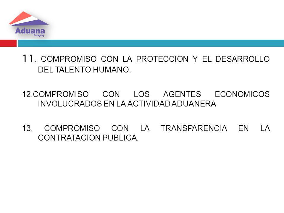 11. COMPROMISO CON LA PROTECCION Y EL DESARROLLO DEL TALENTO HUMANO.