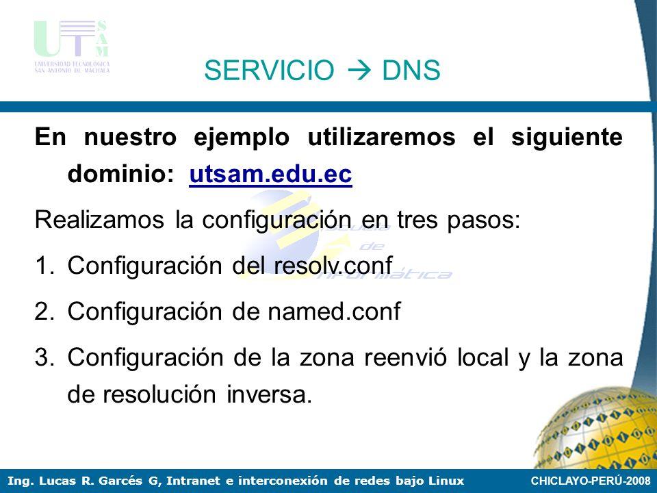SERVICIO  DNS En nuestro ejemplo utilizaremos el siguiente dominio: utsam.edu.ec. Realizamos la configuración en tres pasos: