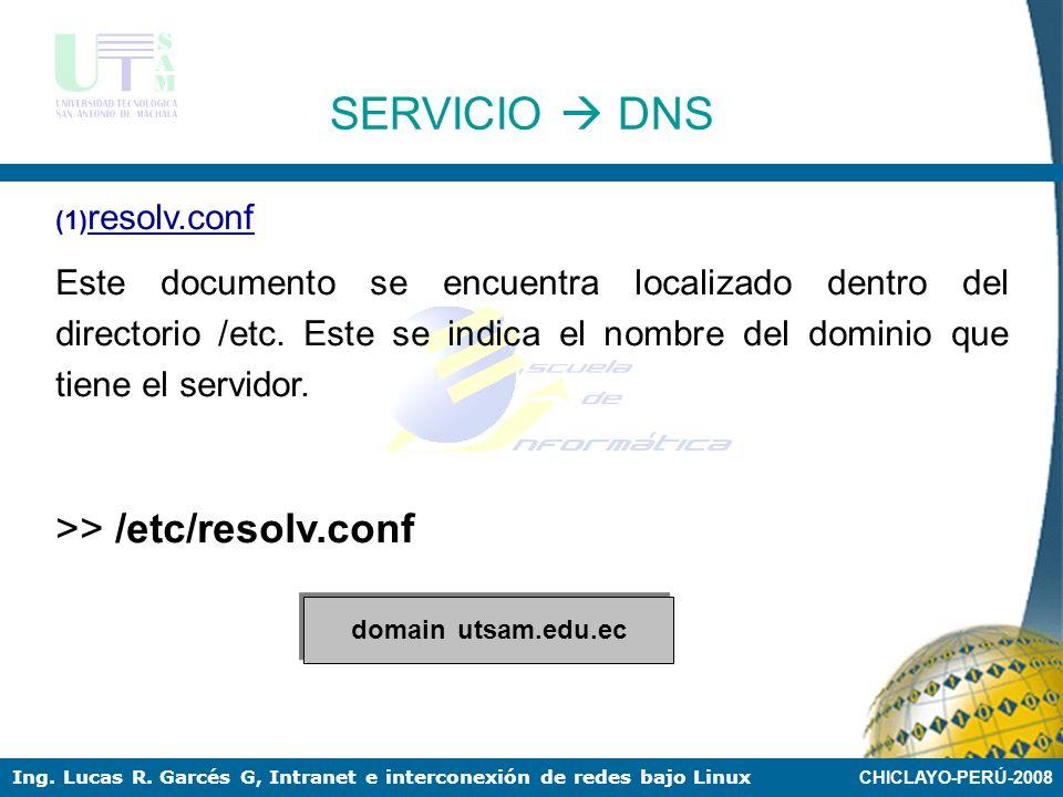 SERVICIO  DNS >> /etc/resolv.conf