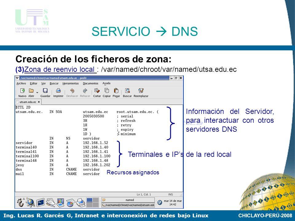 SERVICIO  DNS Creación de los ficheros de zona: