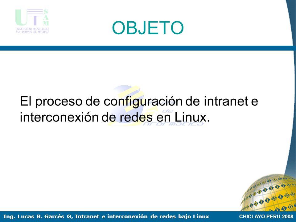 OBJETO El proceso de configuración de intranet e interconexión de redes en Linux.