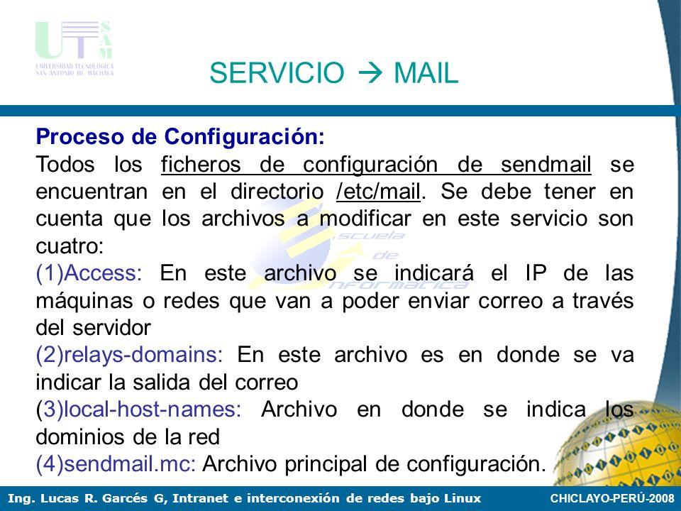 SERVICIO  MAIL Proceso de Configuración: