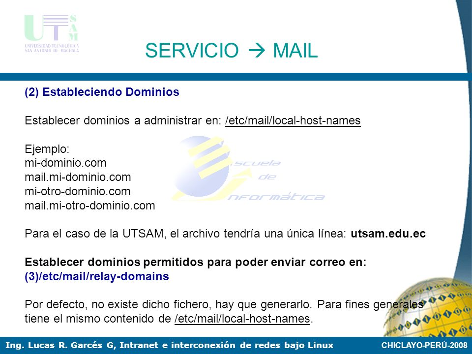 SERVICIO  MAIL (2) Estableciendo Dominios