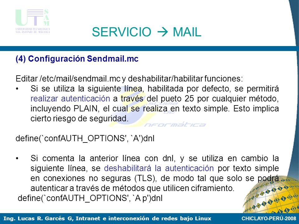 SERVICIO  MAIL (4) Configuración Sendmail.mc
