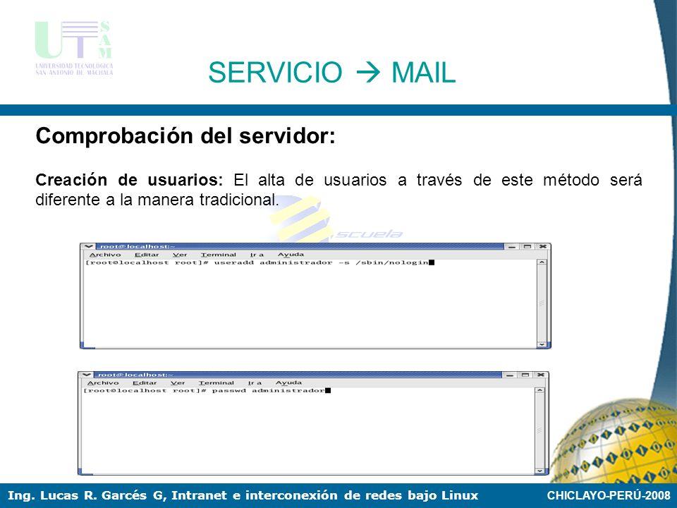 SERVICIO  MAIL Comprobación del servidor: