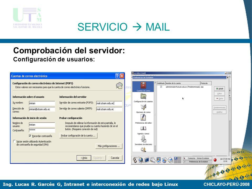 SERVICIO  MAIL Comprobación del servidor: Configuración de usuarios: