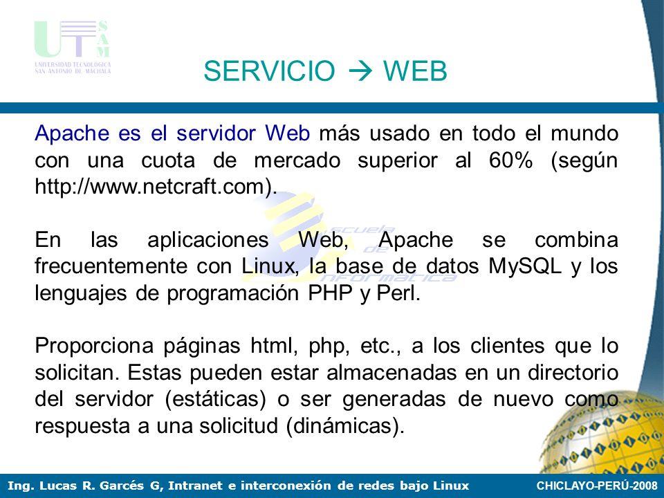 SERVICIO  WEB Apache es el servidor Web más usado en todo el mundo con una cuota de mercado superior al 60% (según http://www.netcraft.com).