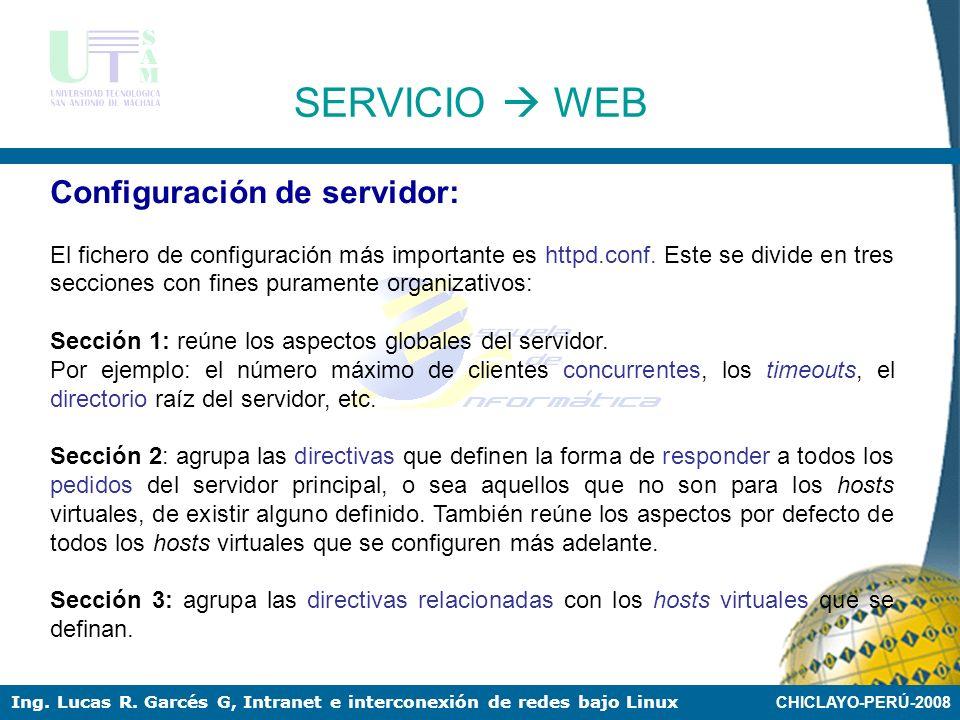 SERVICIO  WEB Configuración de servidor: