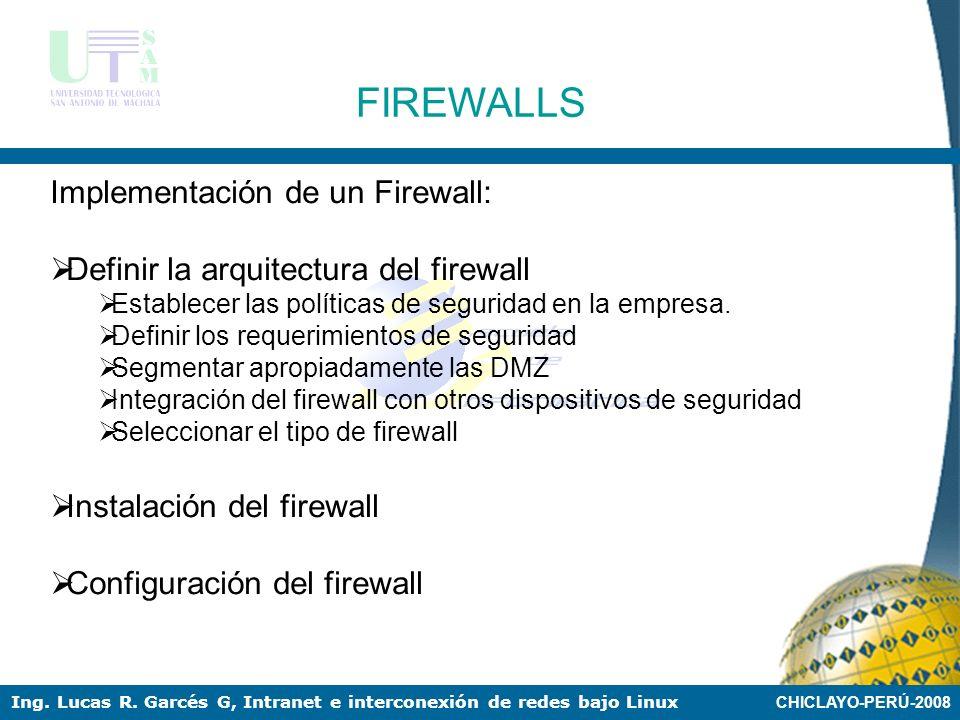 FIREWALLS Implementación de un Firewall: