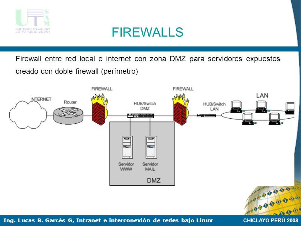 FIREWALLS Firewall entre red local e internet con zona DMZ para servidores expuestos creado con doble firewall (perímetro)