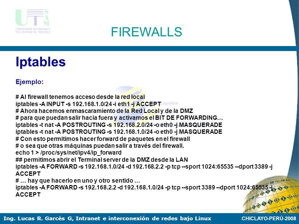 Iptables FIREWALLS Ejemplo: