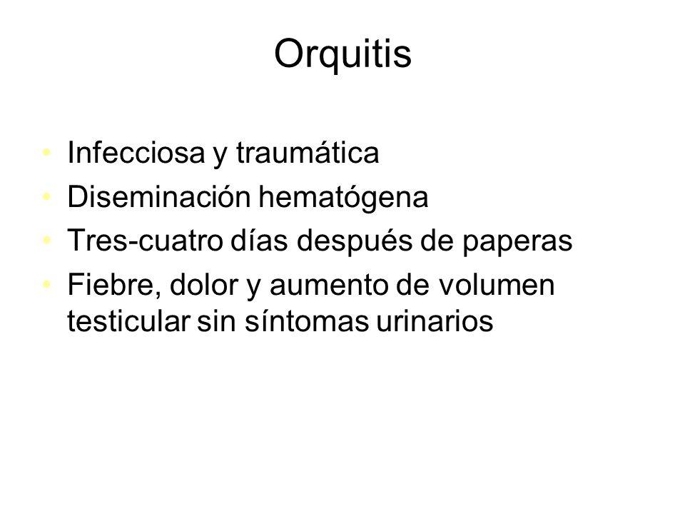 Orquitis Infecciosa y traumática Diseminación hematógena