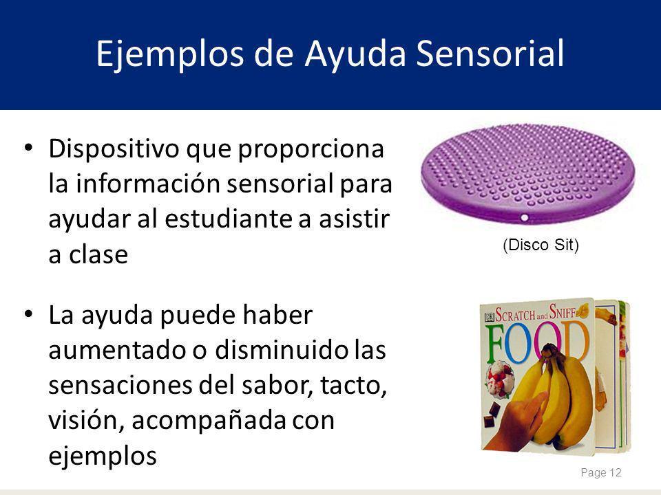 Ejemplos de Ayuda Sensorial