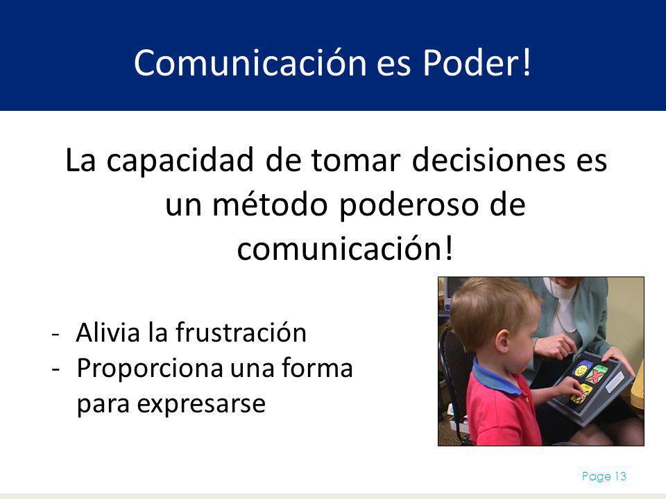 Comunicación es Poder! La capacidad de tomar decisiones es un método poderoso de comunicación! Alivia la frustración.