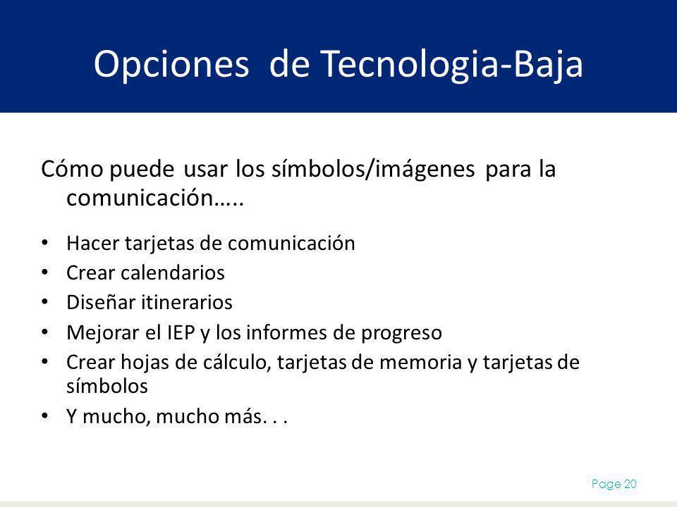 Opciones de Tecnologia-Baja