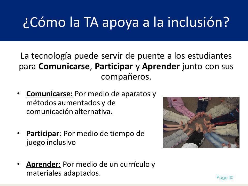 ¿Cómo la TA apoya a la inclusión