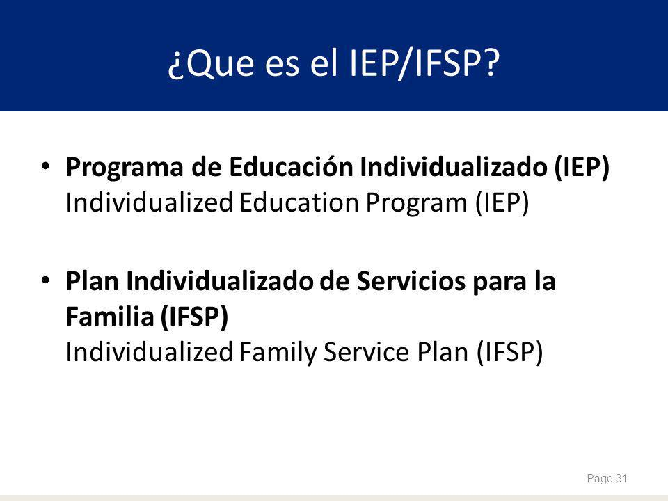 ¿Que es el IEP/IFSP Programa de Educación Individualizado (IEP) Individualized Education Program (IEP)