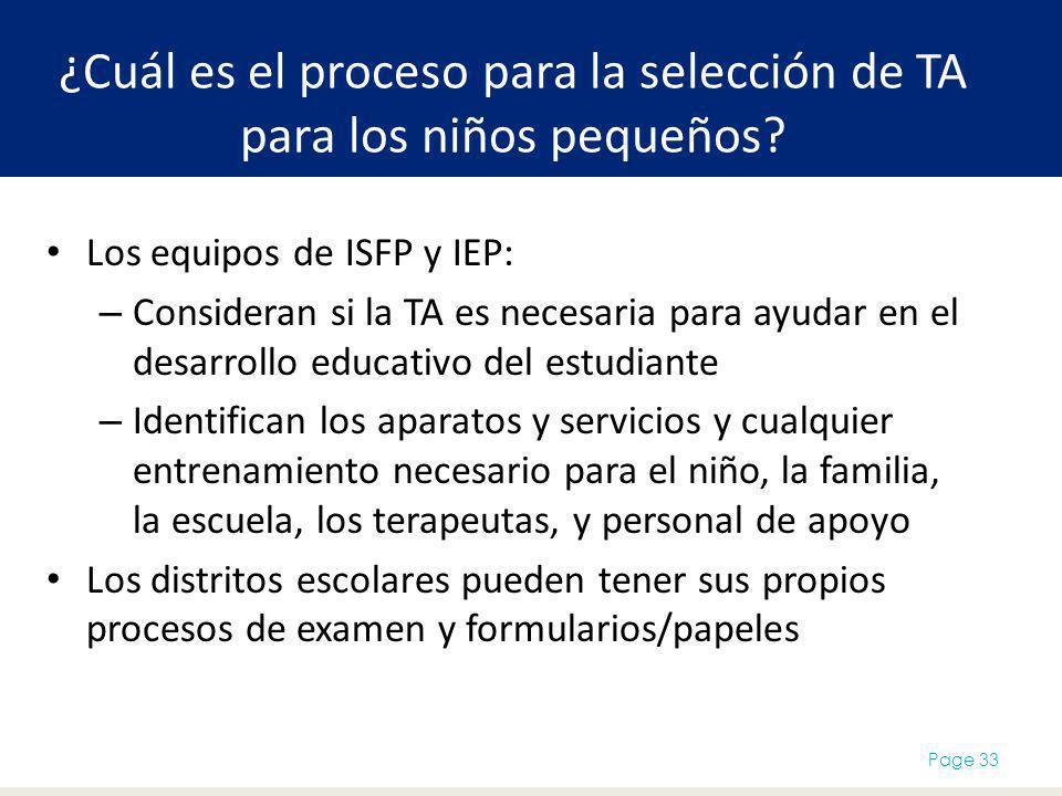 ¿Cuál es el proceso para la selección de TA para los niños pequeños