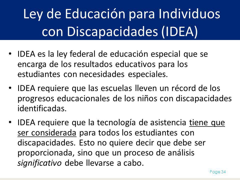 Ley de Educación para Individuos con Discapacidades (IDEA)