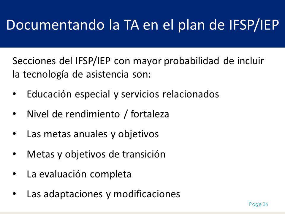 Documentando la TA en el plan de IFSP/IEP