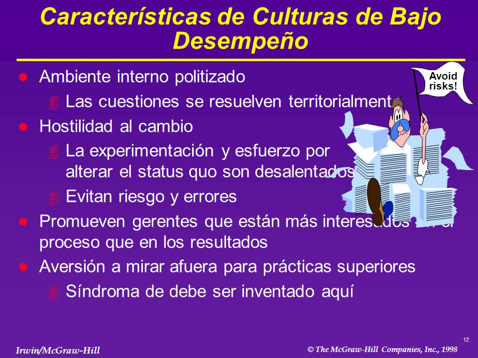 Características de Culturas de Bajo Desempeño