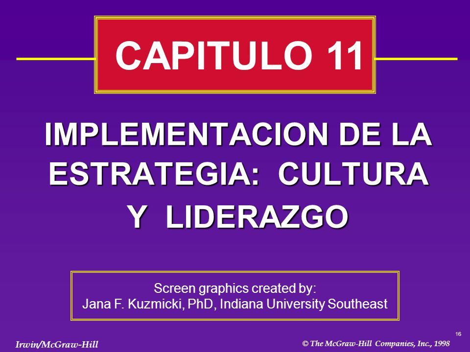 IMPLEMENTACION DE LA ESTRATEGIA: CULTURA Y LIDERAZGO