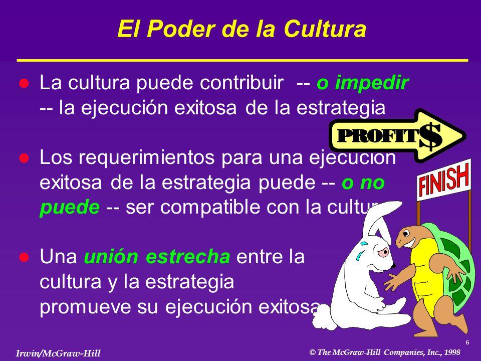El Poder de la Cultura La cultura puede contribuir -- o impedir -- la ejecución exitosa de la estrategia.