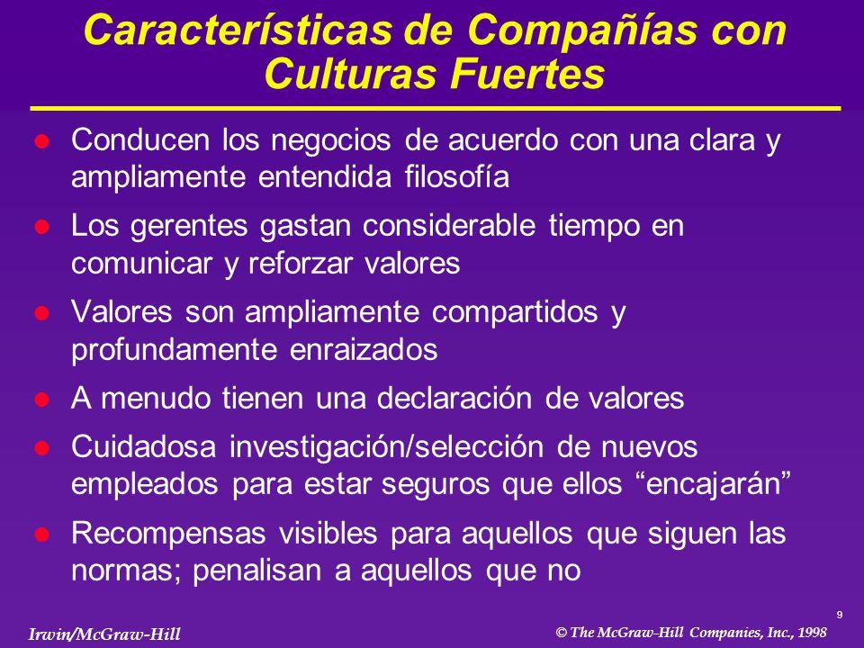 Características de Compañías con Culturas Fuertes