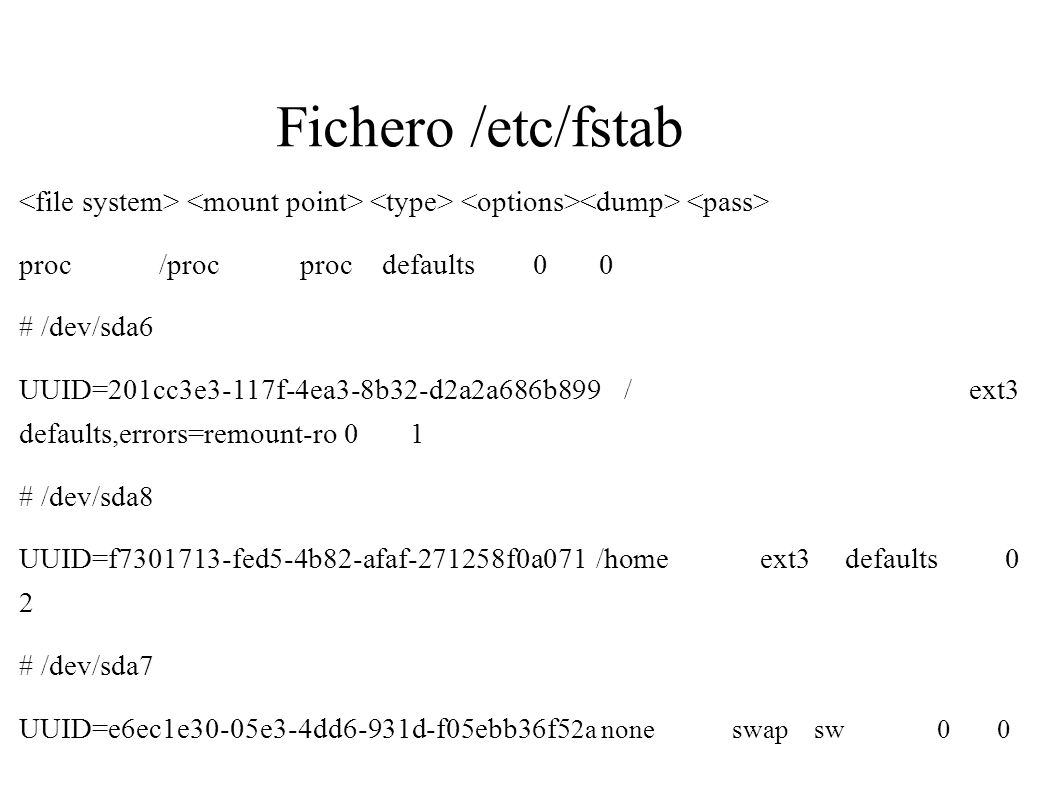 Fichero /etc/fstab <file system> <mount point> <type> <options><dump> <pass> proc /proc proc defaults 0 0.
