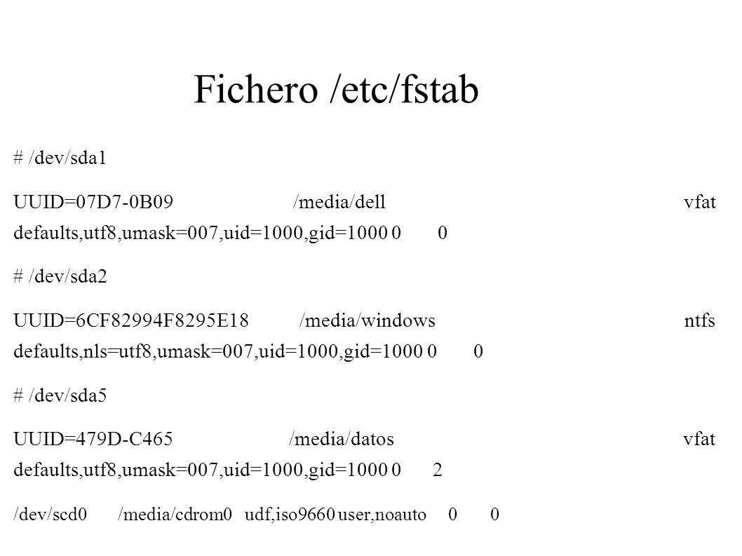 Fichero /etc/fstab # /dev/sda1