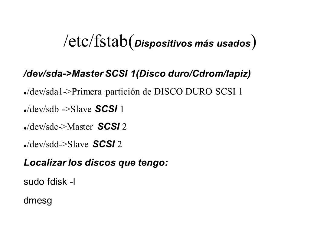 /etc/fstab(Dispositivos más usados)