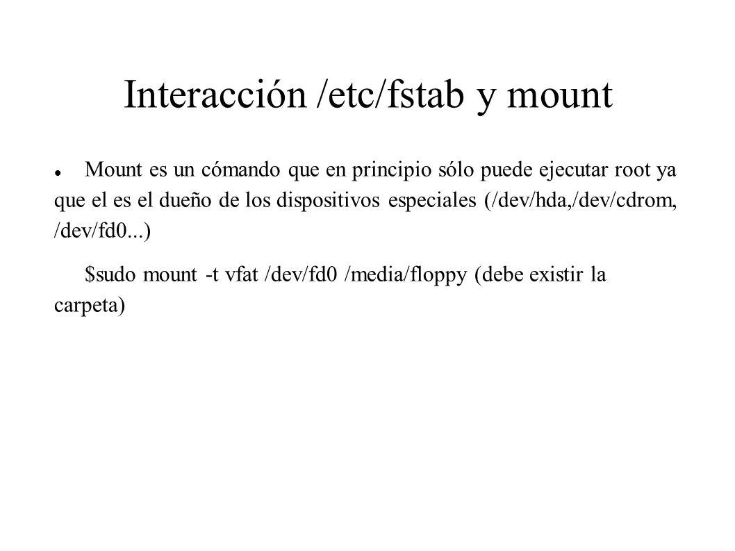 Interacción /etc/fstab y mount