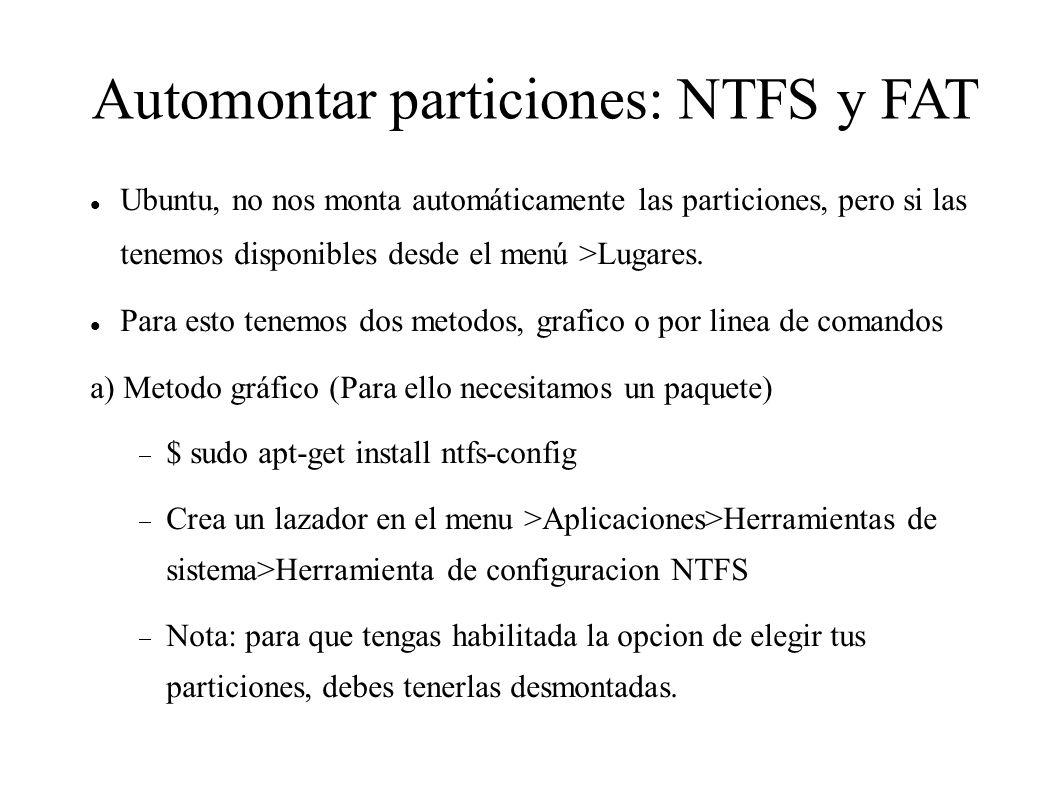 Automontar particiones: NTFS y FAT
