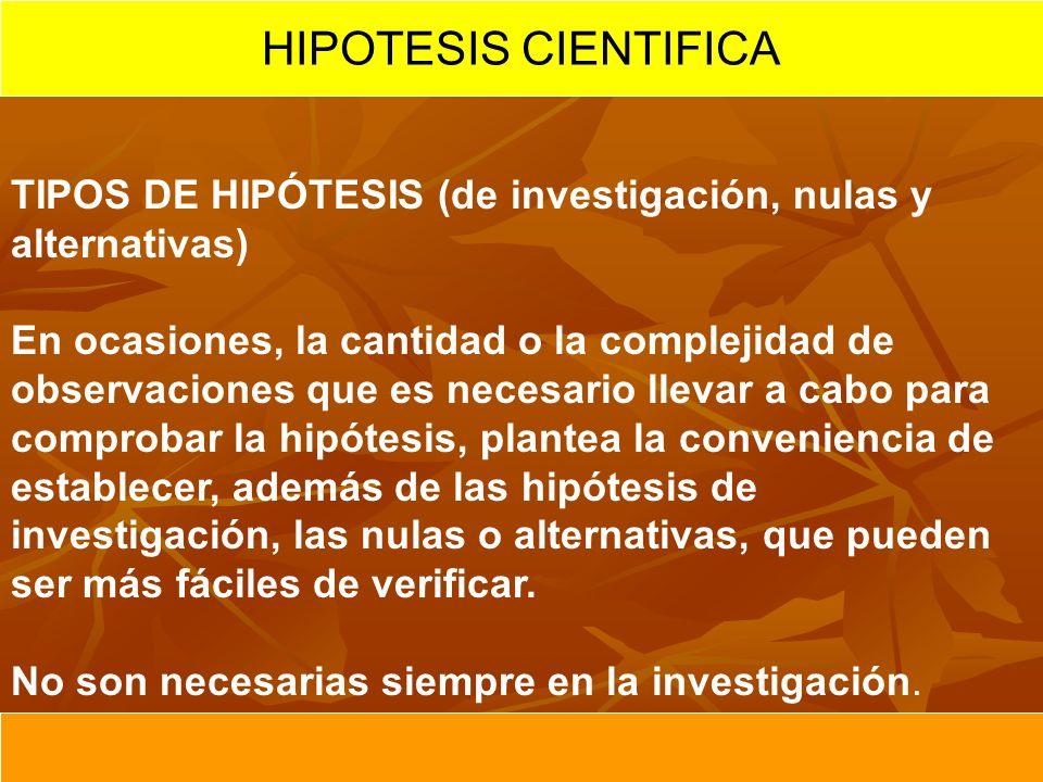 HIPOTESIS CIENTIFICA TIPOS DE HIPÓTESIS (de investigación, nulas y alternativas)