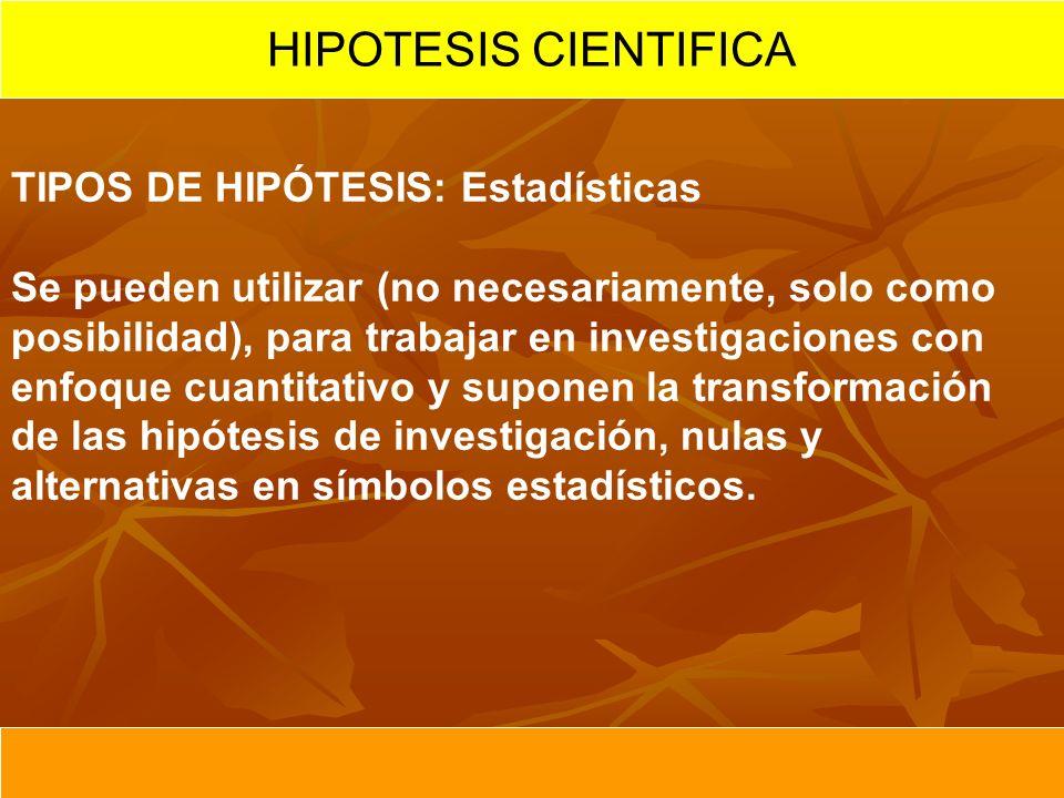 HIPOTESIS CIENTIFICA TIPOS DE HIPÓTESIS: Estadísticas