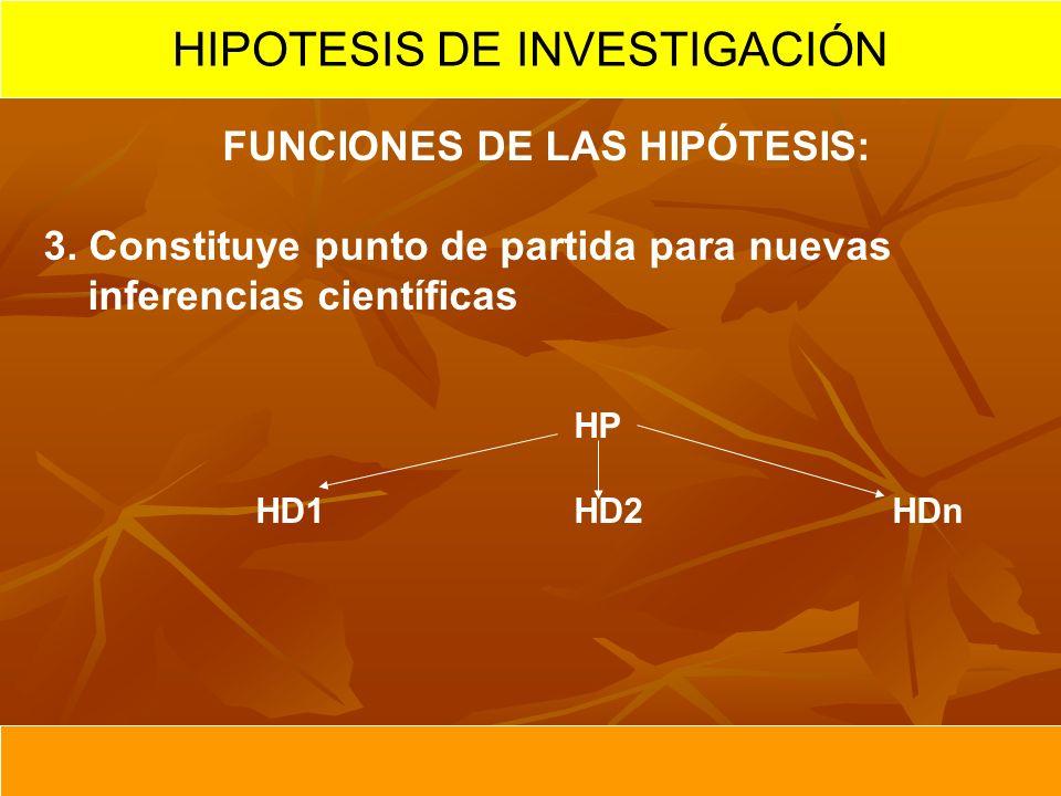FUNCIONES DE LAS HIPÓTESIS: