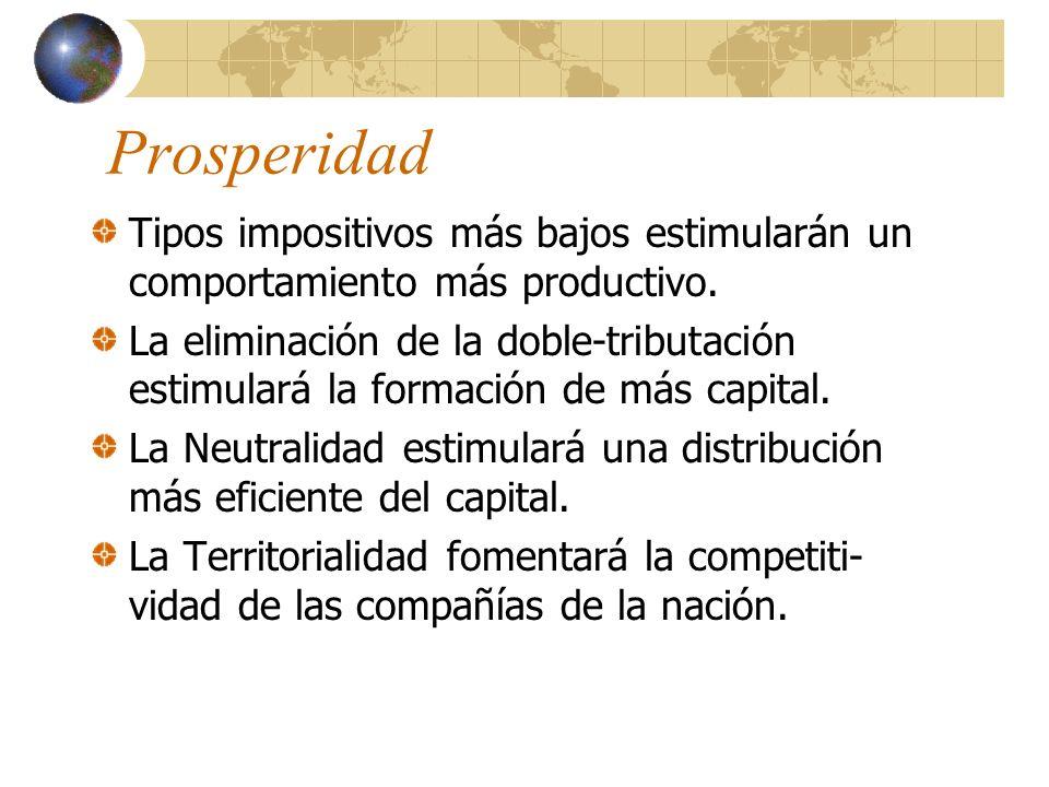 Prosperidad Tipos impositivos más bajos estimularán un comportamiento más productivo.