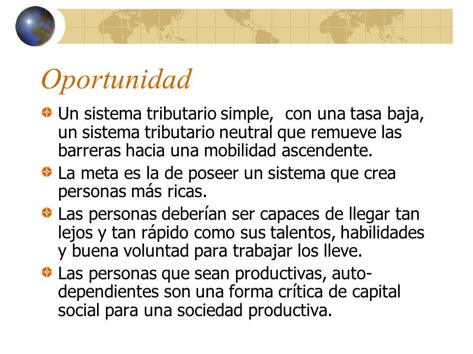 Oportunidad Un sistema tributario simple, con una tasa baja, un sistema tributario neutral que remueve las barreras hacia una mobilidad ascendente.