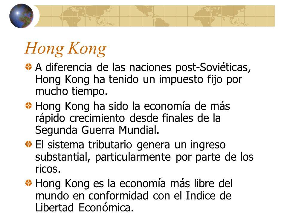 Hong Kong A diferencia de las naciones post-Soviéticas, Hong Kong ha tenido un impuesto fijo por mucho tiempo.