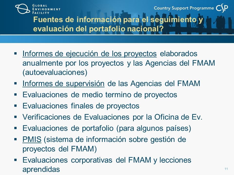 Fuentes de información para el seguimiento y evaluación del portafolio nacional