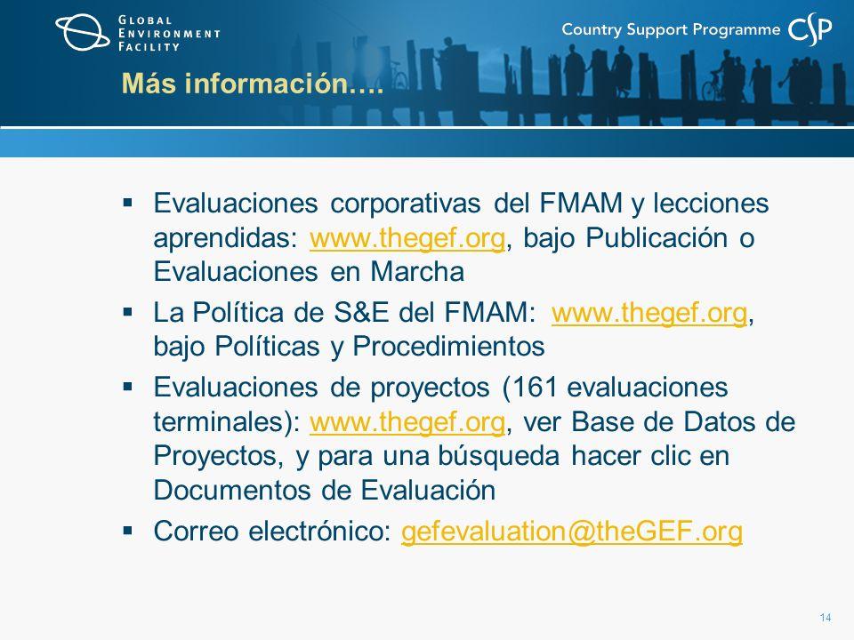 Más información…. Evaluaciones corporativas del FMAM y lecciones aprendidas: www.thegef.org, bajo Publicación o Evaluaciones en Marcha.