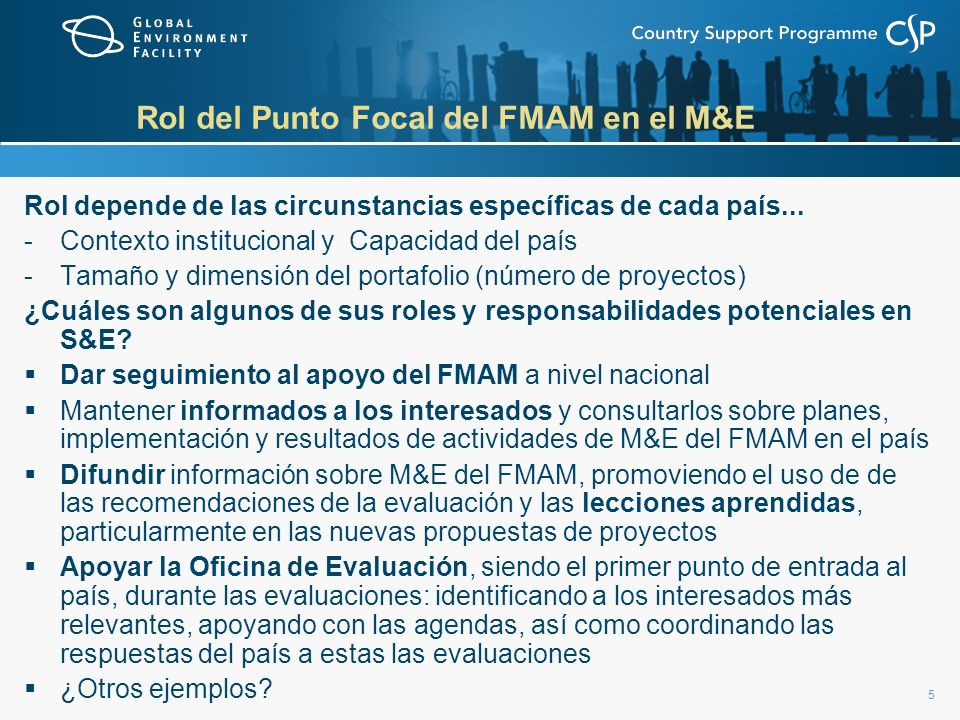 Rol del Punto Focal del FMAM en el M&E