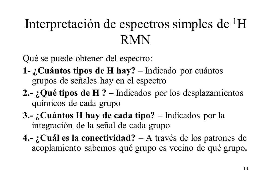 Interpretación de espectros simples de 1H RMN